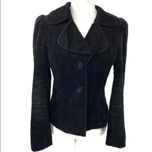 Anthro Elevenses Black Corduroy Blazer Jacket Sz 8